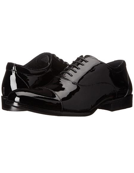 Tuxedo Shoe Patent Leather Lace-up Closure Cap toe Black