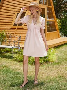 V-neck Puff Sleeve Flowy Dress