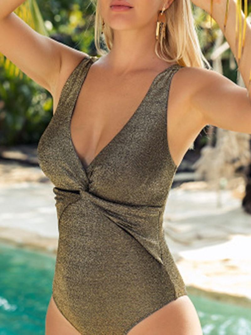 Ericdress Women's Pleated One Piece Sexy Swimwear