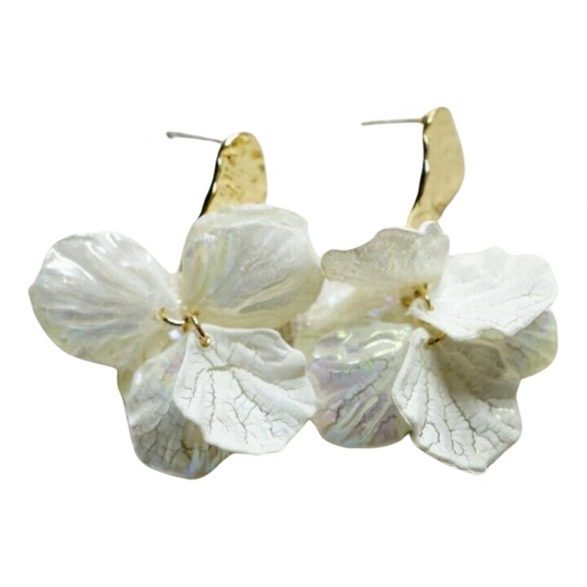 Non Signé / Unsigned Motifs Floraux White Metal Earrings for Women N