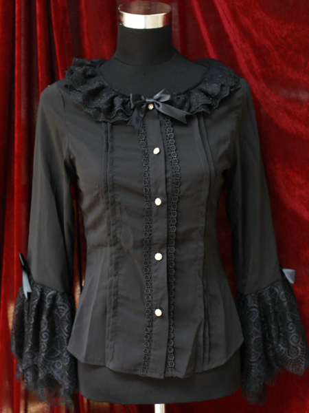 Milanoo Blusa de Lolita de chifon con lazo
