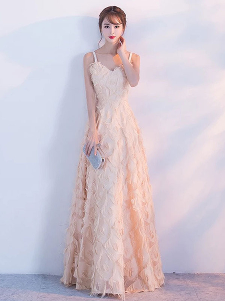 Milanoo Vestidos de baile Blush Pink largo halter plumas sin mangas piso longitud vestido de graduacion