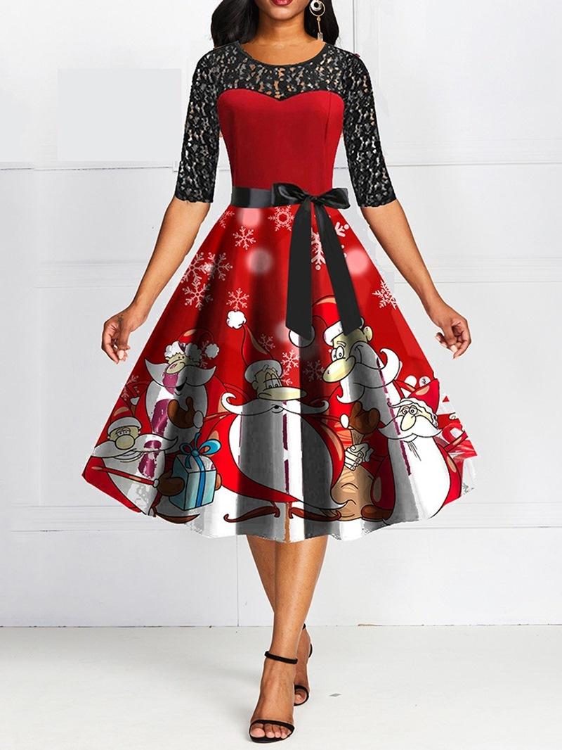 Ericdress Christmas Hollow Mid-Calf Half Sleeve Mid Waist Pullover Dress