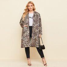 Mantel mit Leopard Muster und doppelten Taschen