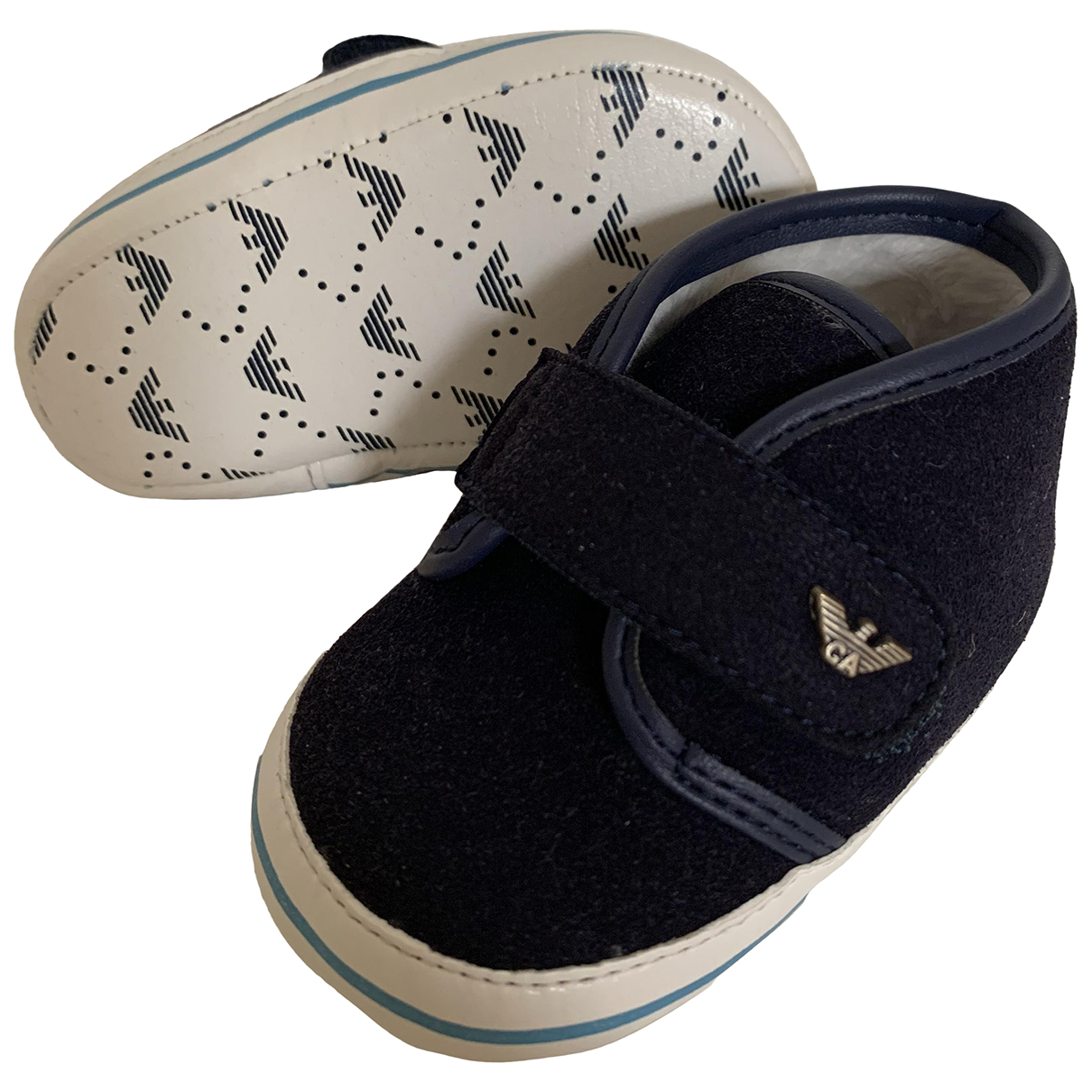 Armani Baby N Blue Suede First shoes for Kids 17 FR
