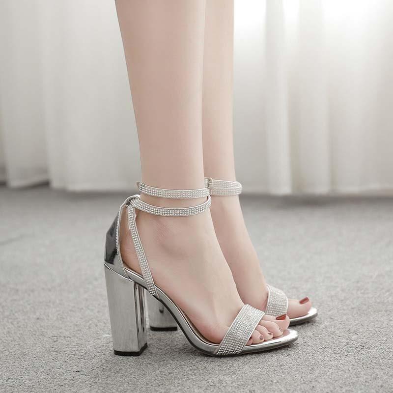 Ericdress Chunky Heel Buckle Open Toe Plain Sandals