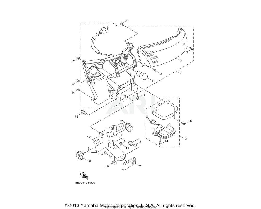 Yamaha OEM 3KW-H5130-00-00 REAR REFLECTOR ASSY