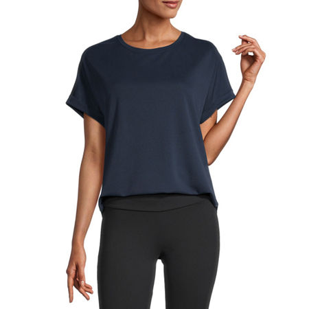 Stylus Shirttail-Womens Round Neck Short Sleeve T-Shirt, X-small , Blue