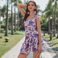 Kleid mit Selbstband, asymmetrischem Rueschenbesatz und Blumen Muster