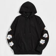 Men Floral Print Drop Shoulder Pocket Front Hoodie