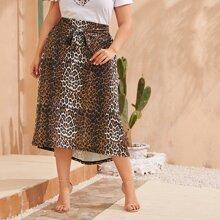 Plus Leopard Tie Front High Low Skirt