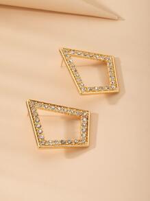 Rhinestone Decor Geometric Stud Earrings
