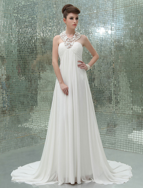 Milanoo Chapel Train Ivory A-line Chiffon Wedding Dress For Bride with Keyhole Neck Cut Out