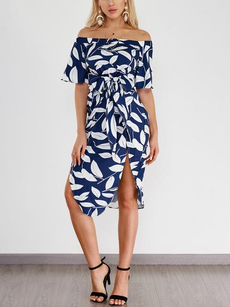 Yoins Random Leaf Print Off Shoulder Slit Hem Midi Dress
