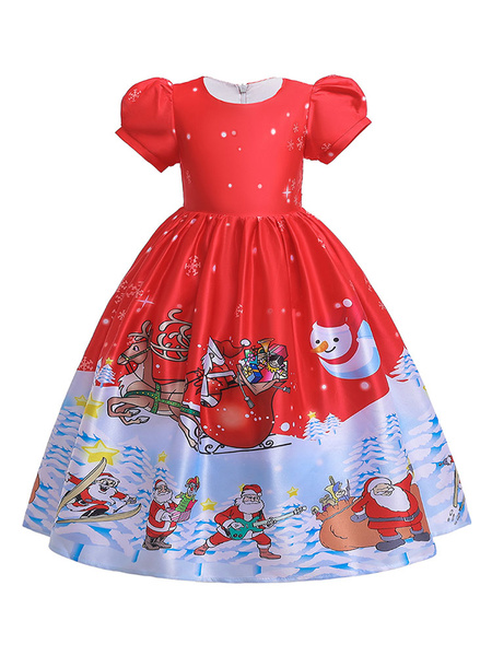 Milanoo Child Christmas Cosplay Costumes Kids Red Skater Dress Halloween Outfits