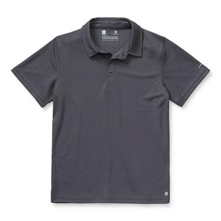 Xersion Little & Big Boys Short Sleeve Moisture Wicking Polo Shirt, 10-12 Husky , Black