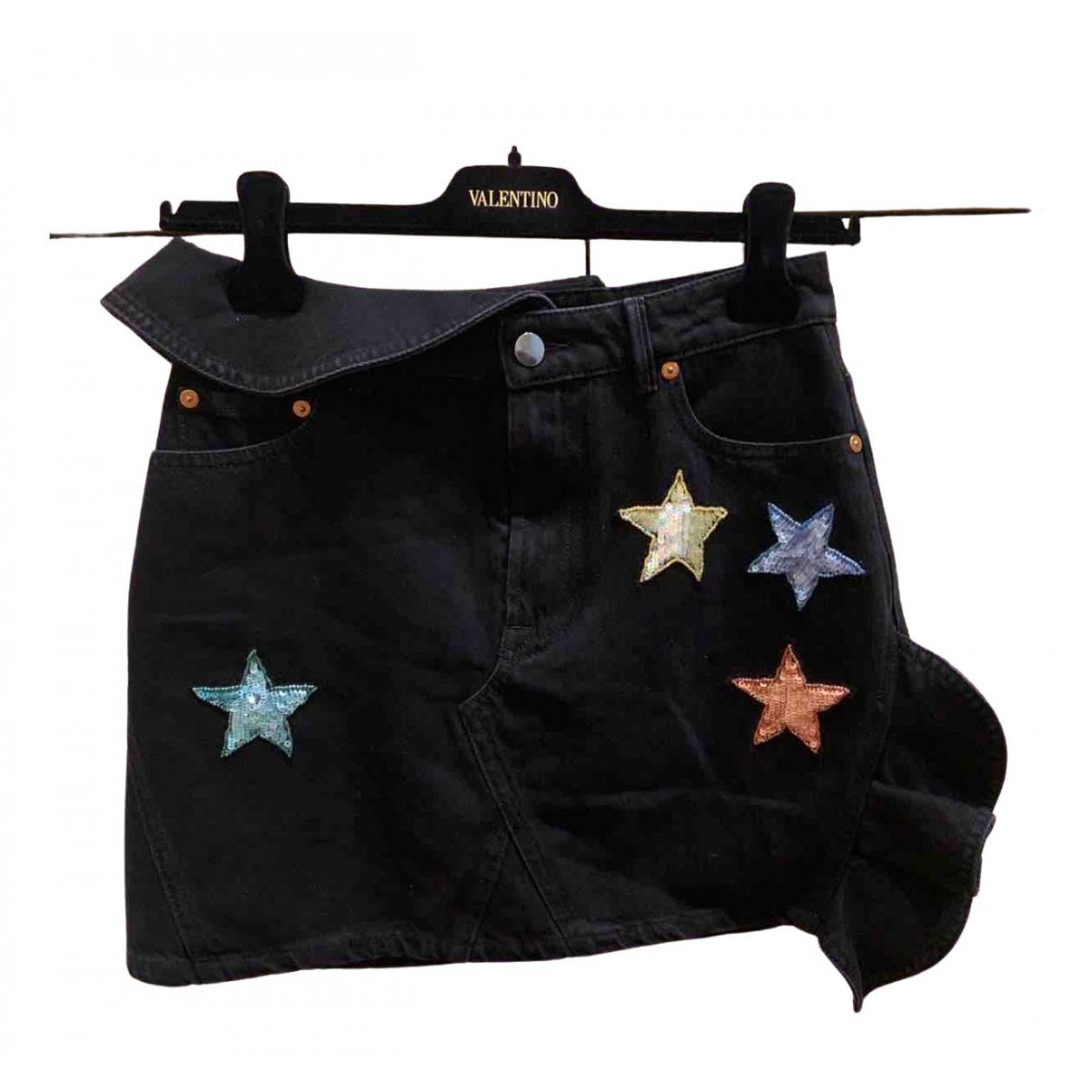 Valentino Garavani \N Black Denim - Jeans skirt for Women 36 FR