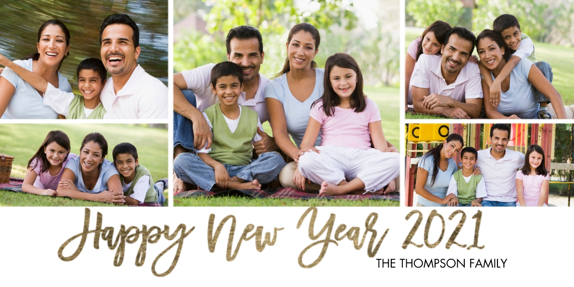 New Year's Photo Cards Flat Matte Photo Paper Cards with Envelopes, 4x8, Card & Stationery -New Year 2021 Handlettered Memories by Tumbalina