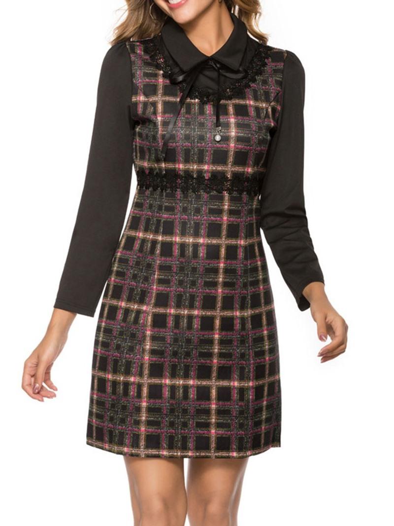 Ericdress Bowknot Above Knee Nine Points Sleeve Sweet Regular Dress