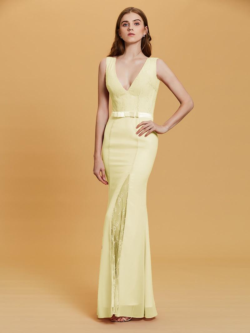 Ericdress V Neck Split-Front Sheath Evening Dress