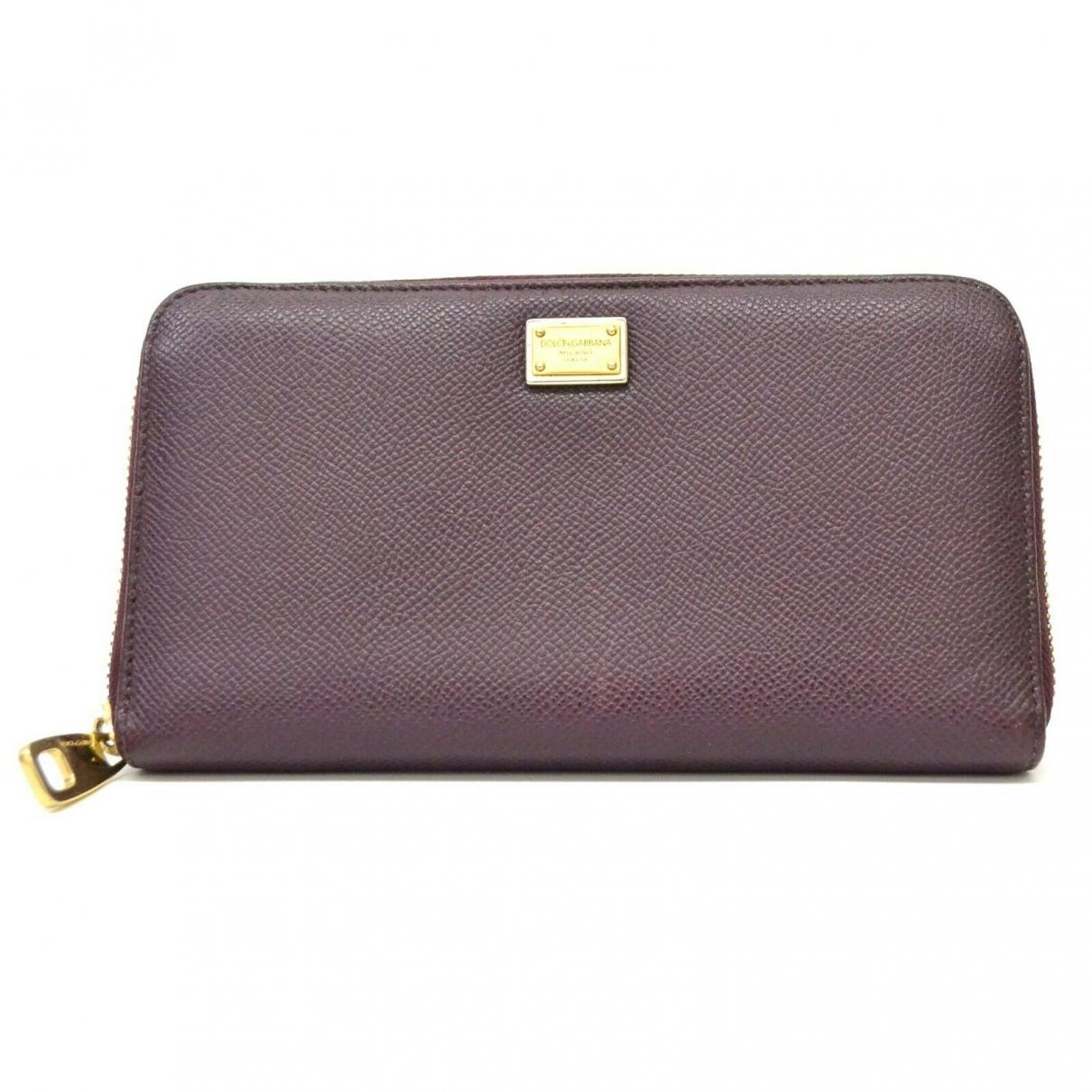 Dolce & Gabbana - Portefeuille   pour femme en cuir - bordeaux