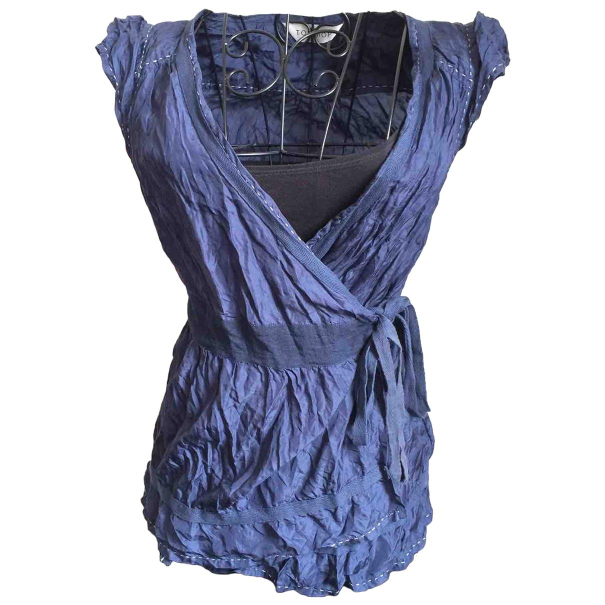Topshop - Top   pour femme en soie - bleu