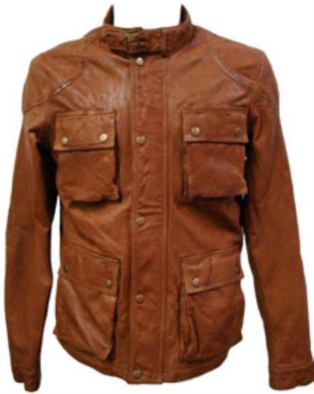 Mens Cognac Lamb Leather Hunting Coat