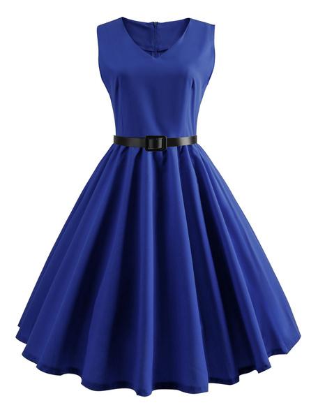 Milanoo Vestido azul de la vendimia del vestido del oscilacion v cuello sin mangas verano vestido midi
