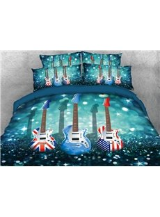Vivilinen Flag Guitars Printed 4-Piece 3D Blue Bedding Sets/Duvet Covers