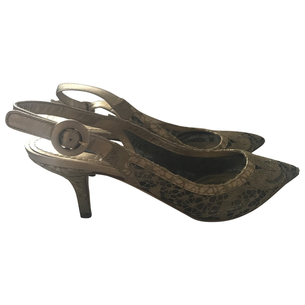 Dolce & Gabbana - Escarpins   pour femme en toile - dore
