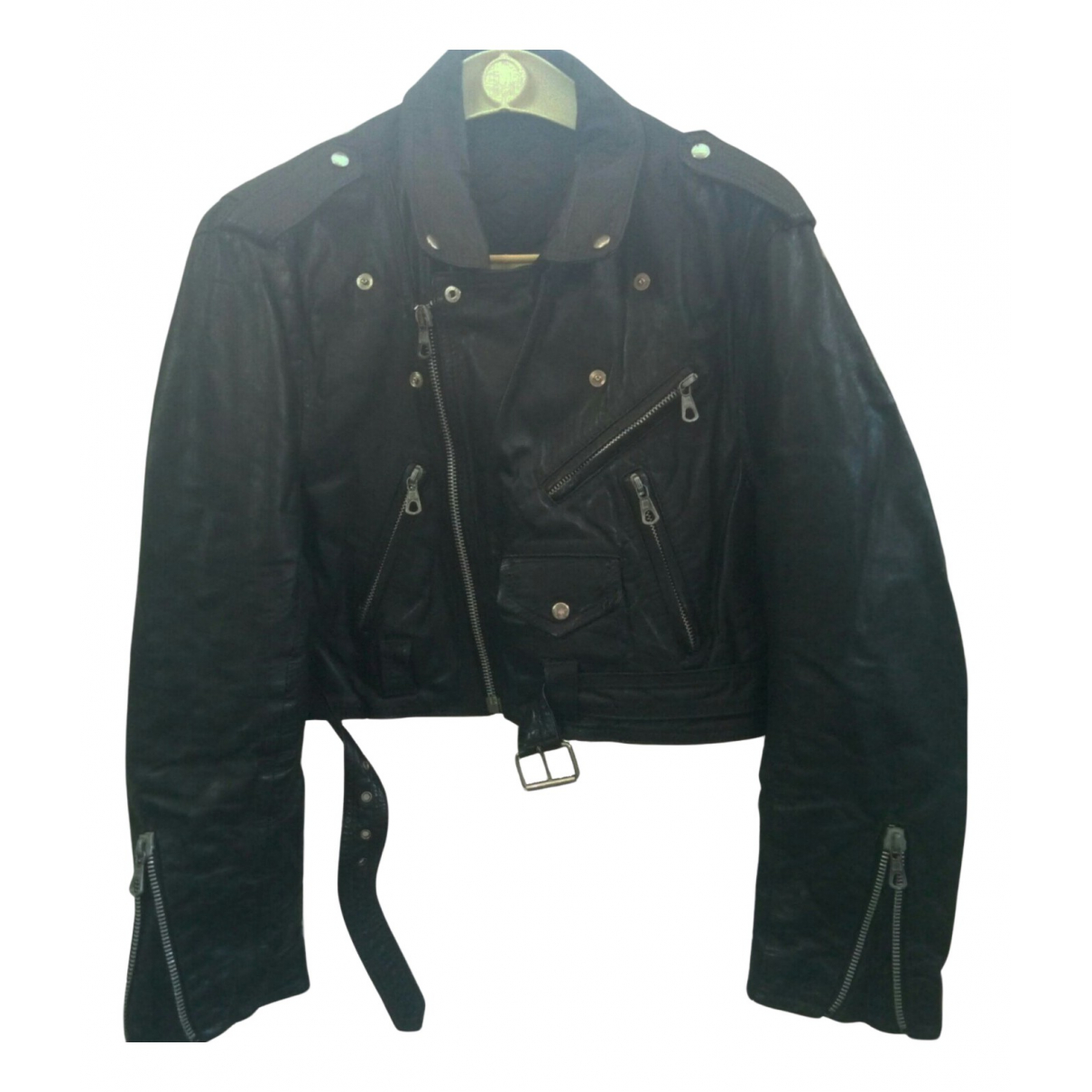 Non Signé / Unsigned N Black Leather jacket  for Men M International