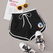 Panda Graphic Dolphin Hem Sports Shorts