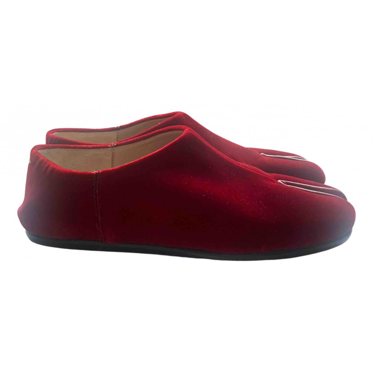 Maison Martin Margiela Tabi Red Velvet Flats for Women 37 EU