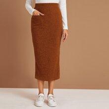 Pocket Front Split Hem Rib-knit Pencil Skirt