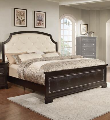 Metro Collection King Size Bed with Alligator Footboard Print  Nail Head Accents  High Headboard  Wood Frame Construction and PU Leather Upholstered