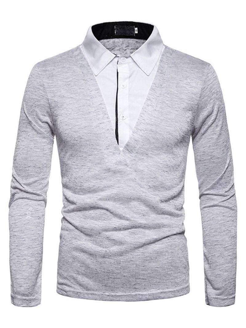 Ericdress Casual Patchwork Color Block Men's Polo Shirt