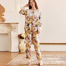 Floral Contrast Lace Tie Neck Pajama Set