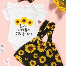 Baby Girl Floral And Slogan Graphic Bodysuit & Suspender Skirts &Headband