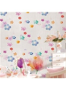 3D Colored Flowers Printed PVC Sturdy Waterproof Eco-friendly Self-Adhesive Wall Mural