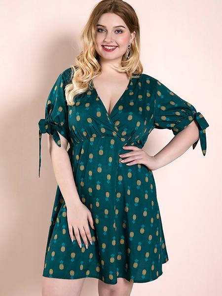 Yoins Plus Size Green Tie-up Design Fruit V-neck Half Sleeves Dress
