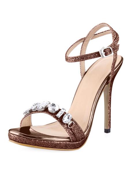 Milanoo Sexy pedreria tacon PU cuero sandalias del vestido