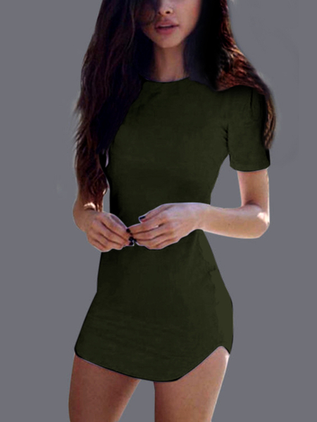 Yoins Sexy Green Curved hem Bodycon Fit Dress With Short Sleeves