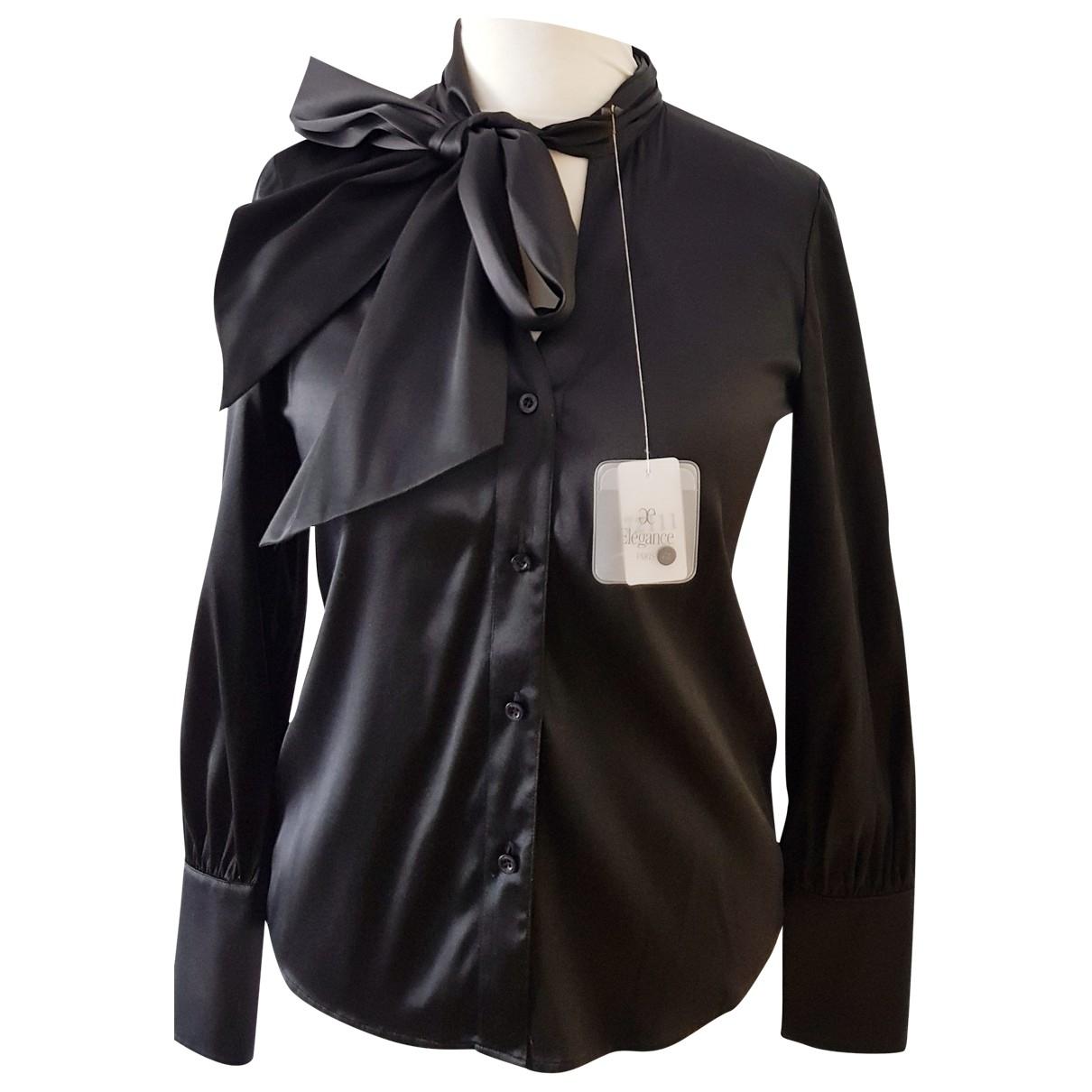 Elegance Paris - Top   pour femme en soie - noir