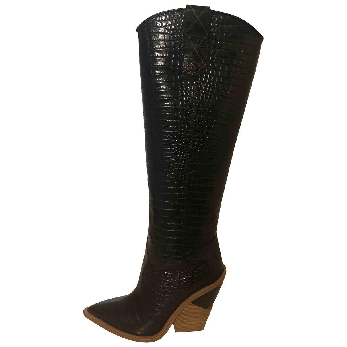 Fendi Cowboy Black Leather Boots for Women 38 EU