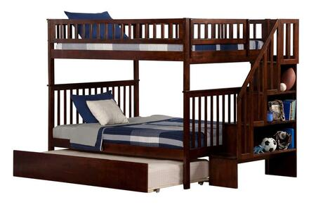 Woodland Collection AB56854 Full Over Full Bunk Bed with Staircase Included  Urban Trundle Bed  Casters  Slat Design  Guard Rails and Hardwood