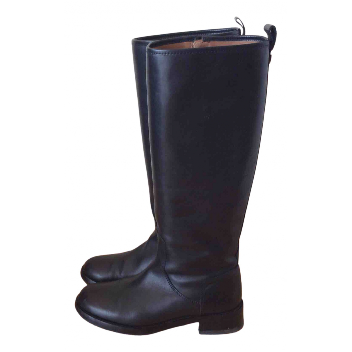 Massimo Dutti N Black Leather Boots for Women 37 EU