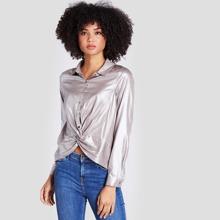 Metallische Bluse mit Twist vorn