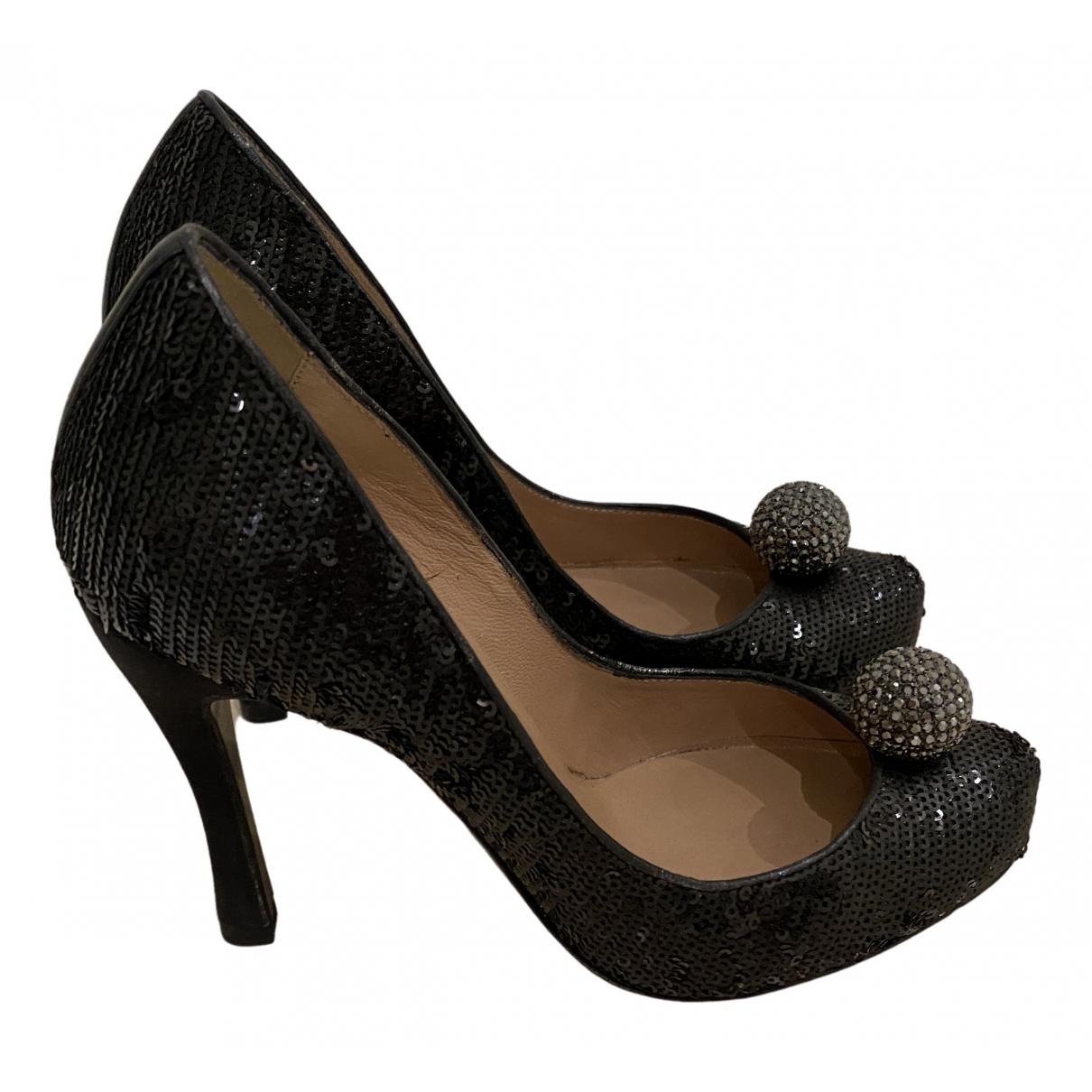 Emporio Armani N Black Glitter Heels for Women 35 IT