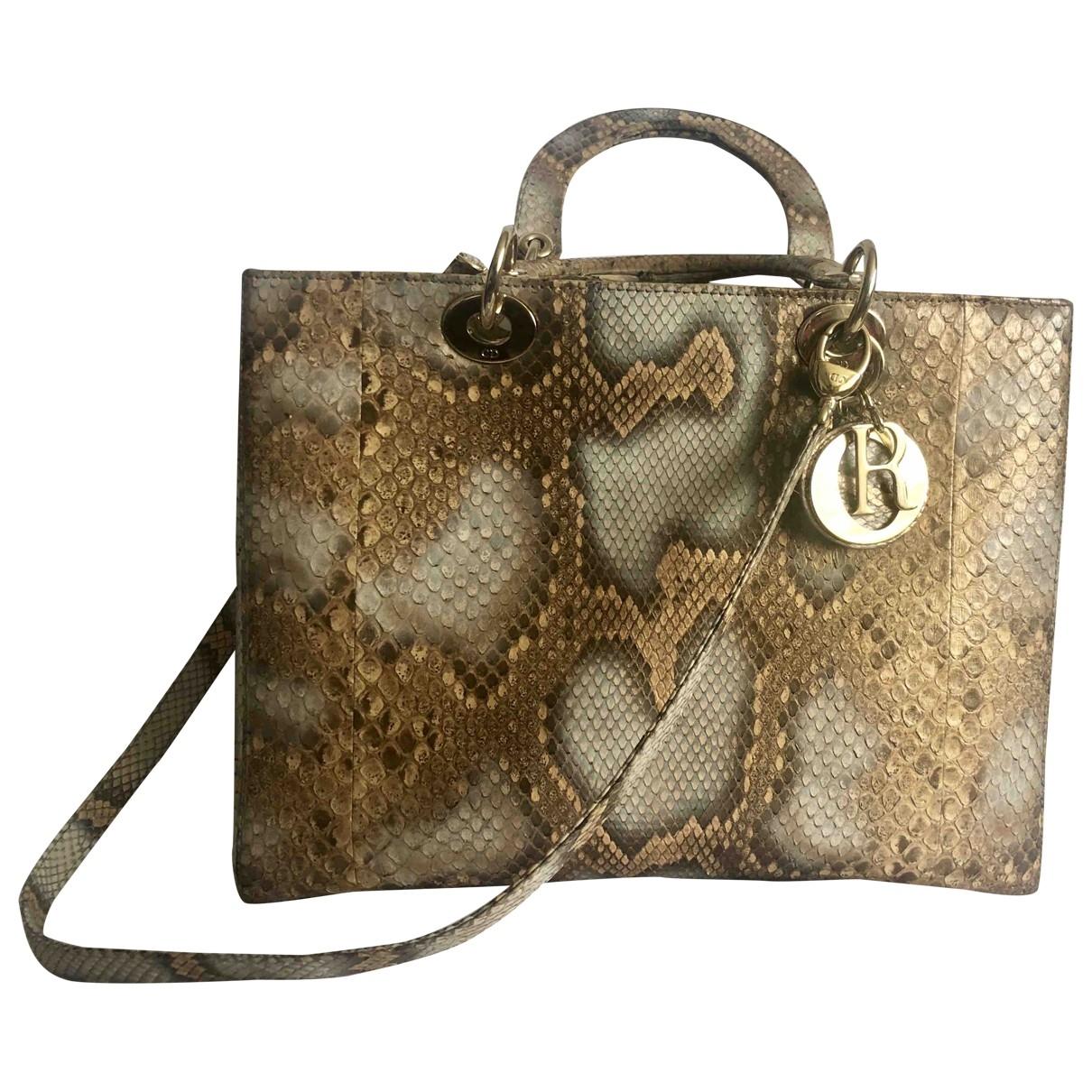Dior Lady Dior Beige Python handbag for Women \N
