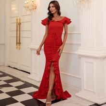 Ruffle Trim Tie Front Ruched High Low Prom Dress